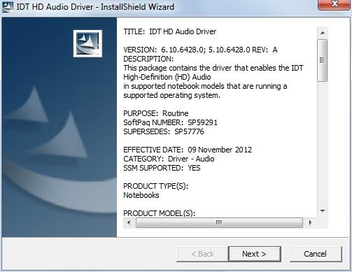 IDT AUDIO WINDOWS 7 64BIT DRIVER