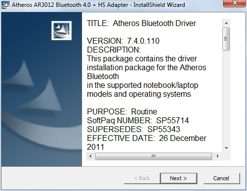 Atheros AR3012 Bluetooth 4.0 + HS Adapter Drivers Download