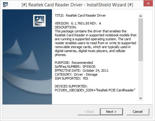 Driver: Asus Realtek Card Reader
